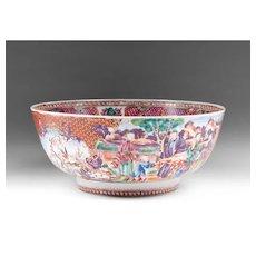 Chinese Export Porcelain Famille Rose Mandarin Palette Punch Bowl