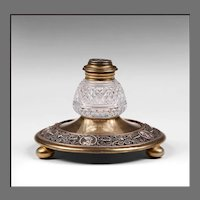 French Charles X Gilt Bronze Inkstand With Faceted Crystal Inkwell