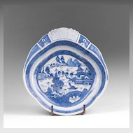 Mid 19th C. Blue and White Canton Porcelain Shrimp Dish