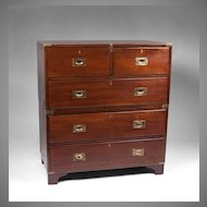 19th C. Double Stacked British Colonial Campaign Chest