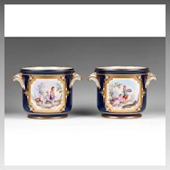 Sevres Pair of 18th C. Soft Paste Flower Stands Or Cachepots