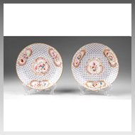 Pair of Early 19th C. English Hand Painted Saucers