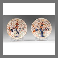 Pair of Duesbury Derby Kakiemon Imari Pattern Saucers