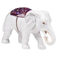Late 19th C. Ernst Bohne Sons German Porcelain Elephant