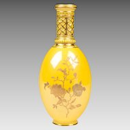 Yellow Ground Gilt Enameled Royal Crown Derby Vase