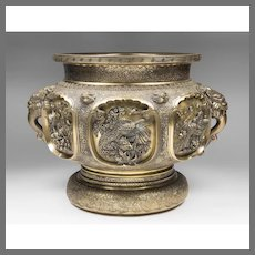 Large 19th C. Japanese Gilt Bronze Jardiniere, Finely Detailed