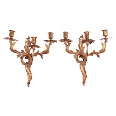 Pair of Cast Bronze Gilded Three Arm Louis XV Style Sconces