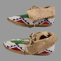 Pr. Child's Lakota Sioux Fully Beaded Moccasins