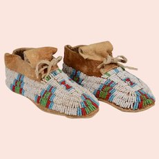 Pr. of Lakota Sioux Child's Fully Beaded Moccasins