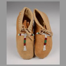 Pair of Shoshone Partially Beaded Child's Moccasins