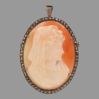 Edwardian Carnelian Shell Carved Cameo Pendant