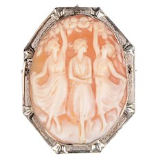 Edwardian Carnelian Shell Three Graces Cameo