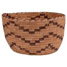 Papago Hand Woven Basket, Zig Zag Pattern