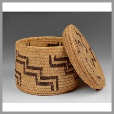 Papago Native American Basket Zig Zag Design With Cover