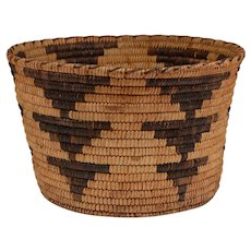 Papago Hand Woven Basket With Triangular Design