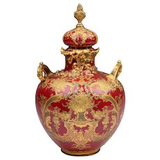 Late 19th C. Royal Crown Derby Sang de Boeuf Potpourri Vase