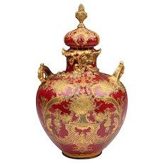 Late 19th C. Royal Crown Derby Sang de Boeuf Potpourri Vase