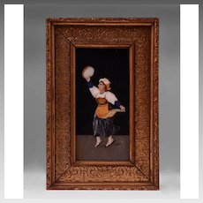 Italian Grand Tour Pietra Dura Plaque In Florentine Frame