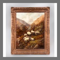 Robert Watson Scottish Highland Sheep Painting, Oil On Canvas