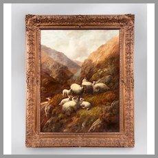 Robert Watson Scottish Highland Sheep Painting, Oil On Canvas
