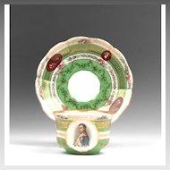 Austrian Porcelain Cup & Saucer With Napoleon Portrait