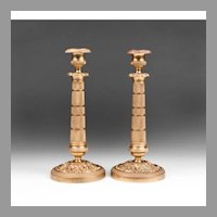 Matched Pr. Of French Second Empire Bronze Candlesticks