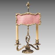 Late 19th C. Louis XV Ormolu Candlestick Lamp