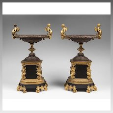 Pair of French Charles X Bronze And Marble Garniture Tazzas