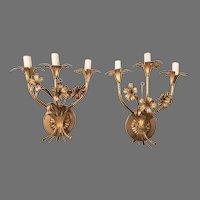 Pair of Vintage Italian Gilded Wrought Iron 3 Light Candelabras
