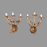 Pair of Vintage Italian Gilded Wrought Iron 3 Light Candelabras