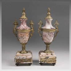 Pair of Napoleon III Marble Garniture Urns Mounted in Bronze