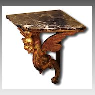 19th C. Hand Carved Giltwood Corner Console Carved Gryphon