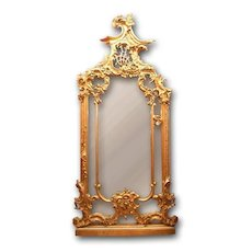 19th C. French Louis XV Rococo Giltwood and Composition Pier Mirror