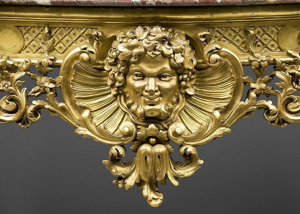 18th C German Rococo Gilded Hand Carved Console Table