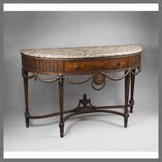 Early 20th C. Neoclassical Style Demilune Inlaid Sideboard