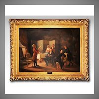 Enrico Fanfani Oil Painting On Canvas Mounted In A Gilded Rococo Frame