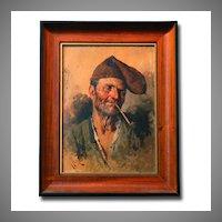 Giuseppe Giardiello Oil On Board of Fisherman