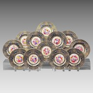 Set of 12 Floral Hand Painted Royal Worcester Service Plates