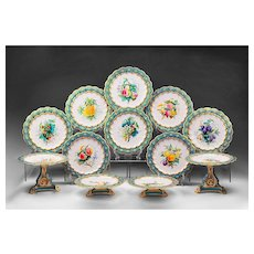 1840 English Rococo Dessert Set, Hand Painted With Fruit, 12 pcs.