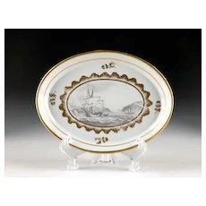 Miles Mason Porcelain Tray with Bat Printed Nautical Scene, 1805-10