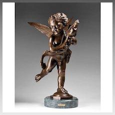 Cherub With A Dolphin, Bronze Sculpture, After Moreau