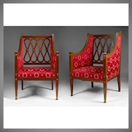 Pair of late 19th C. Neoclassical Baltic Bergére Chairs