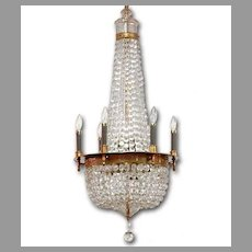 Art Nouveau Tiered Cage 12 Light Crystal Chandelier