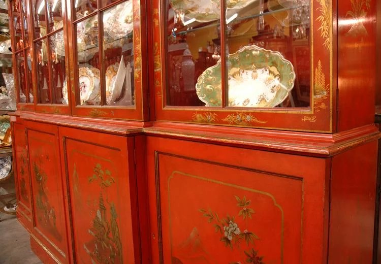 George Iii Style Baker Breakfront Painted Chinese Red