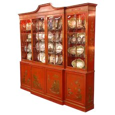 George III Style Baker Breakfront Painted Chinese Red Chinoiserie Style by Davidhazy