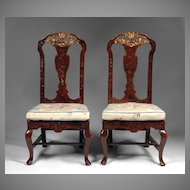 Pr. of 18th C. George II Red Japanned Side Chairs