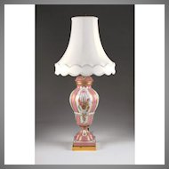 Paris Porcelain Hand Decorated Vase Fitted for Lamp