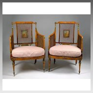 Pair of 19th C. Painted Satinwood George III Style Armchairs With Cane