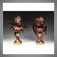 Pair of 19th C. Bronze Busts by Ruffino Ruff. Besserdich