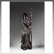 Brass Inlaid Ebony Hand Carved Chinese Sculpture